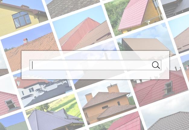 Wizualizacja paska wyszukiwania na kolażu wielu zdjęć z fragmentami różnych rodzajów pokryć dachowych.