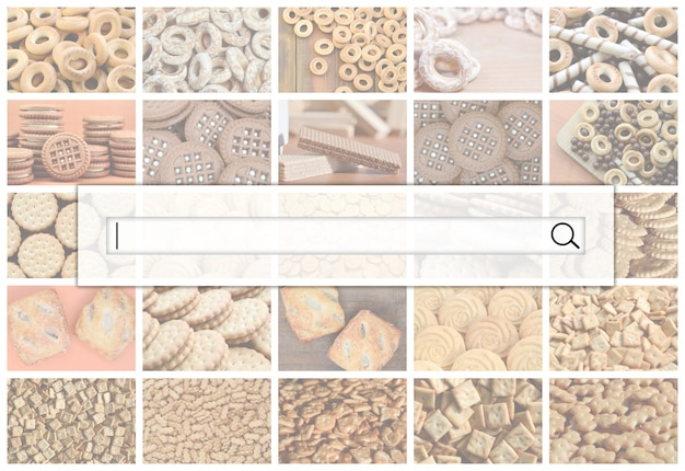 Wizualizacja paska wyszukiwania na tle kolażu wielu zdjęć z różnymi słodyczami