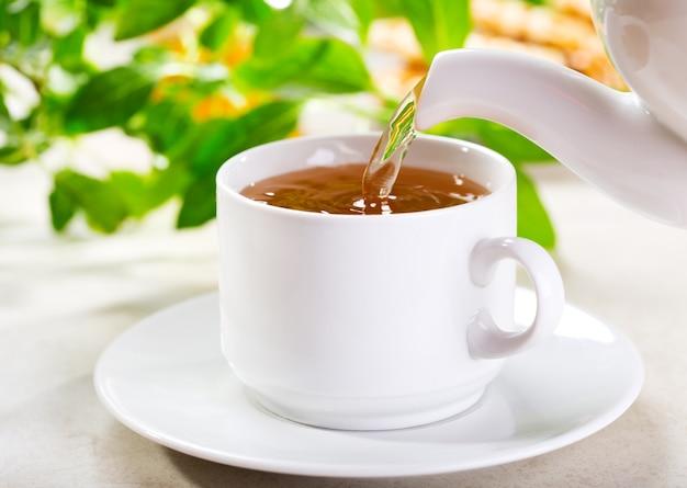 Wlewanie herbaty do filiżanki herbaty