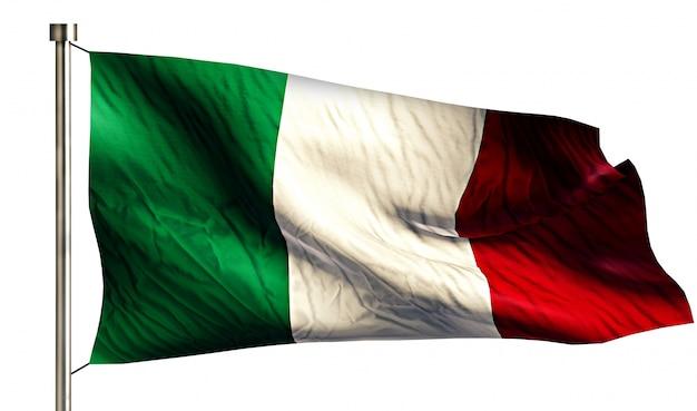 Włochy flaga narodowa pojedyncze 3d białe tło