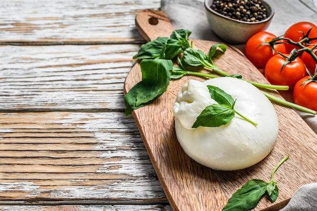 Włoski ser mozzarella burrata z liśćmi bazylii. sałatka caprese. białe tło. widok z góry.