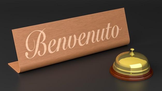 Włoski znak powitalny z hotelowym dzwonkiem. renderowanie 3d