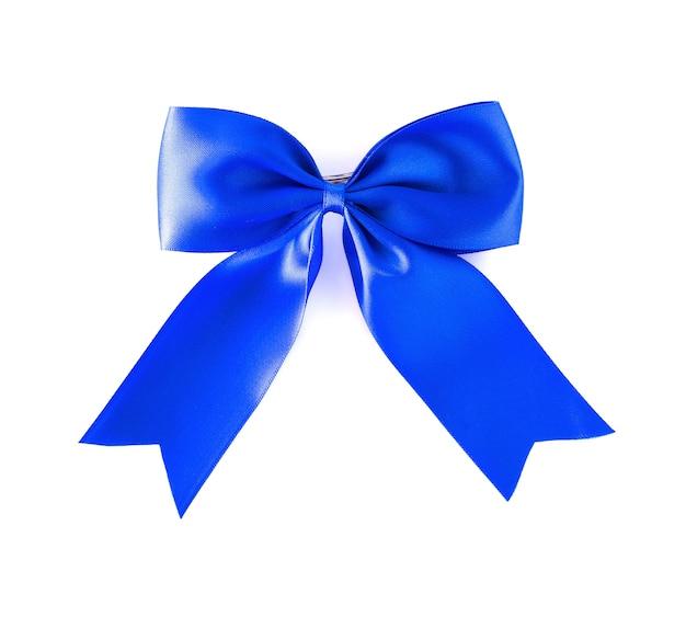 Włosy łuk niebieski na białym tle.