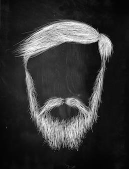 Włosy, wąsy, ciężki broda na tablicy