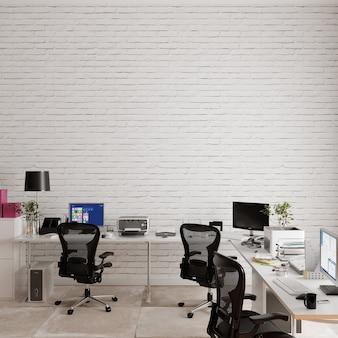 Wnętrza biurowe z krzesłami i biurkami