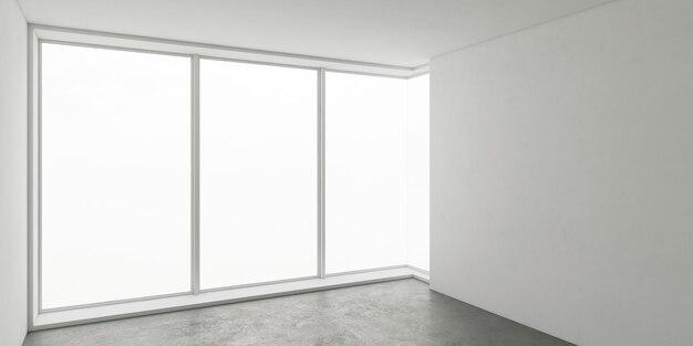 Wnętrze architektury biznesowej, pusty pokój z białą ścianą i szarą podłogą, narożna szklana ściana, sufit i ściany oraz światło słoneczne z dużego okna, perspektywiczny widok, makieta,