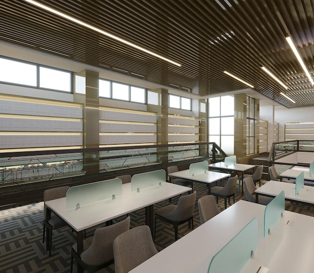 Wnętrze biblioteki z białym biurkiem i krzesłami, renderowania 3d