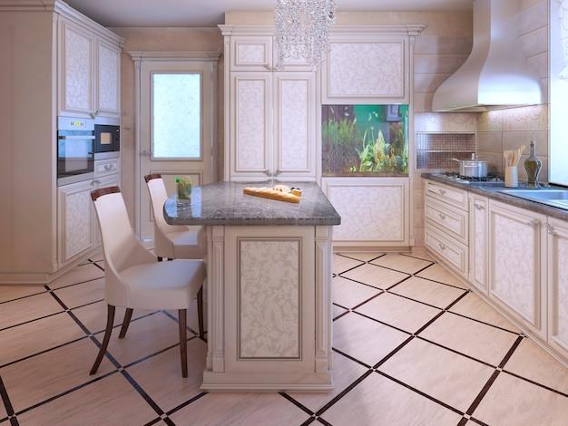Wnętrze bogatej domowej kuchni