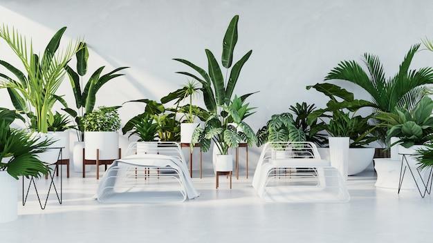 Wnętrze botaniczne - pokój w stylu tropikalnym