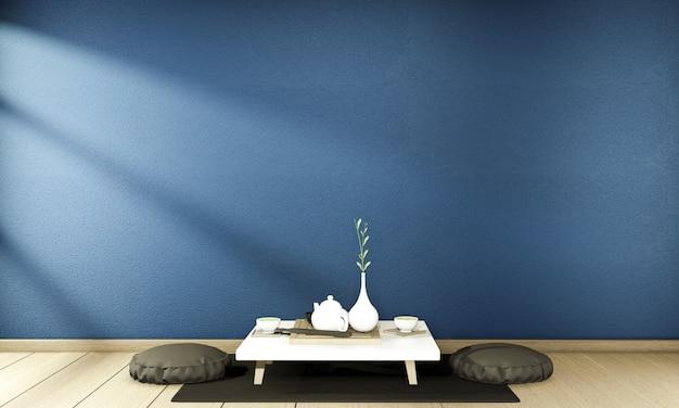 Wnętrze chiński styl granatowy wnętrze pokoju. renderowanie 3d