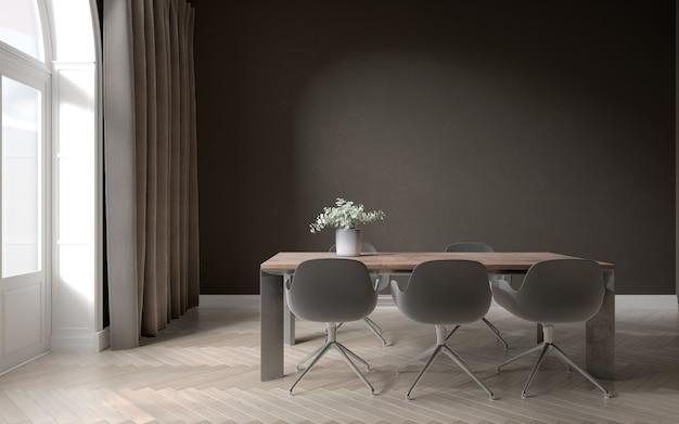 Wnętrze czarnej jadalni z drewnianą podłogą i światłem dziennym z dużego okna
