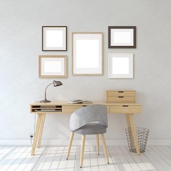 Wnętrze domowego biura w stylu skandynawskim. makieta wnętrza i ramy. różne rodzaje ramek na białej ścianie. renderowania 3d.