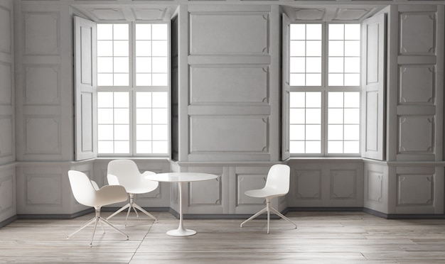 Wnętrze jadalni w stylu klasycznym z dwoma oknami