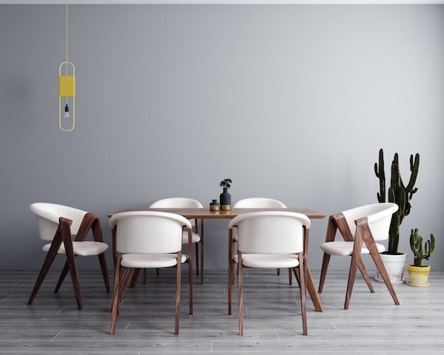 Wnętrze jadalni ze stołem i krzesłami
