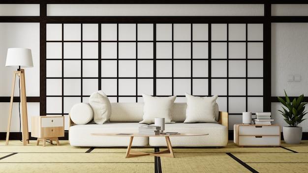 Wnętrze japoński salon z białą sofą. renderowanie 3d.
