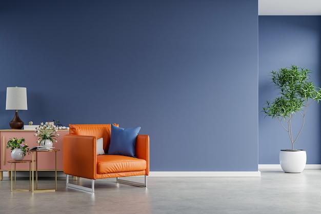 Wnętrze jasnego pokoju z fotelem na pustej ciemnoniebieskiej ścianie i betonowej podłodze, renderowanie 3d