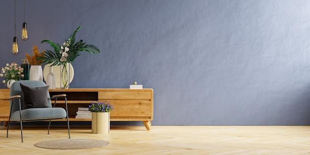 Wnętrze jasnego pokoju z fotelem na pustej ciemnoniebieskiej ścianie i drewnianej podłodze, renderowanie 3d