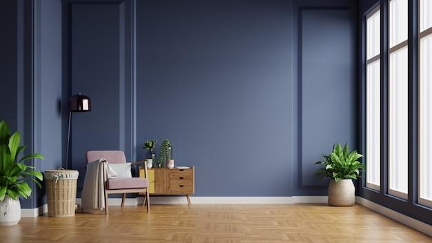 Wnętrze jasnego pokoju z fotelem na pustym ciemnoniebieskim tle ściany, renderowania 3d