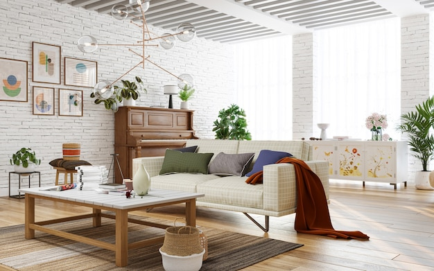 Wnętrze jasnego salonu z ceglanymi ścianami i drewnianymi meblami renderowania 3d