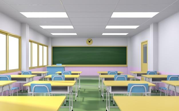 Wnętrze klasy w stylu kreskówkowym z kolorowymi szkolnymi biurkami i krzesłem oraz pustą tablicą renderowania 3d