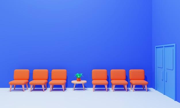 Wnętrze koncepcji poczekalni na niebiesko, renderowania 3d