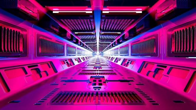 Wnętrze korytarzy statku kosmicznego science fiction