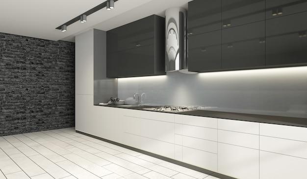 Wnętrze kuchni w nowoczesnym stylu w odcieniach czerni i bieli