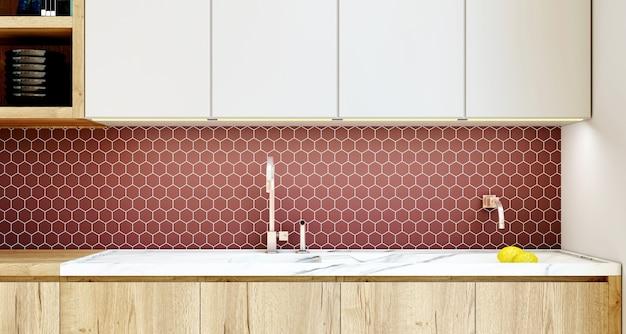 Wnętrze kuchni z backsplash ceramiczną mozaiką. renderowanie 3d.