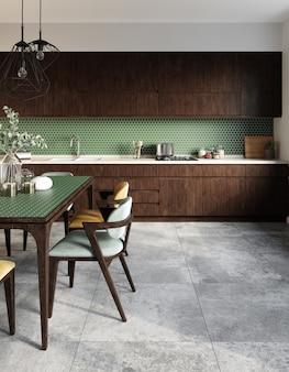 Wnętrze kuchni z sześciokątną zieloną mozaiką i szarymi kafelkami na podłodze