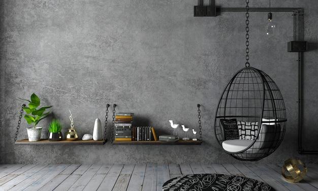 Wnętrze loftu i wiszący czarny kokon na krzesło