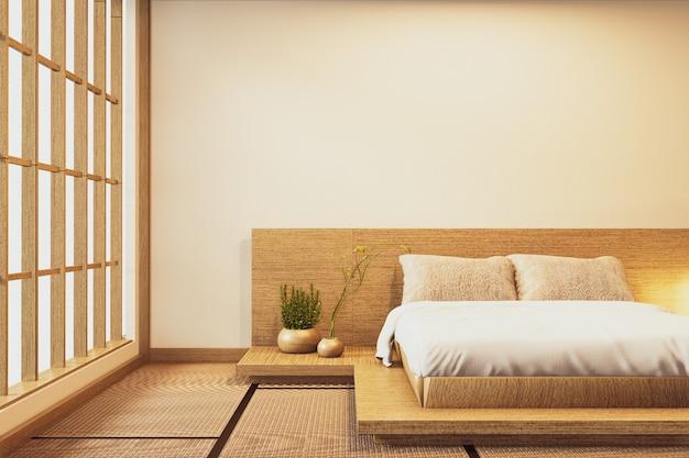 Wnętrze luksusowa nowoczesna sypialnia w japońskim stylu