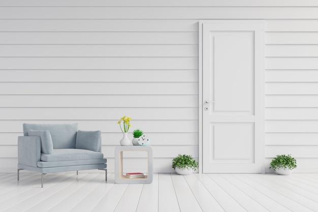 Wnętrze ma fotel na pustym tle białej ściany.
