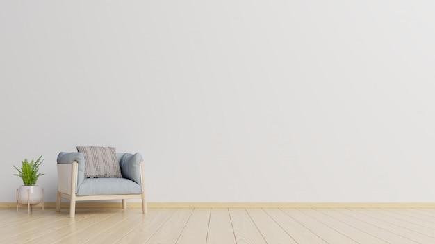 Wnętrze ma fotel na tle pustej białej ściany.