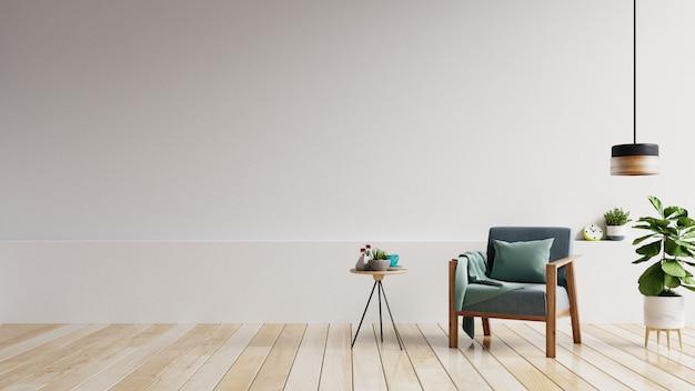 Wnętrze ma fotel z białą pustą ścianą makiety i beżowy fotel.