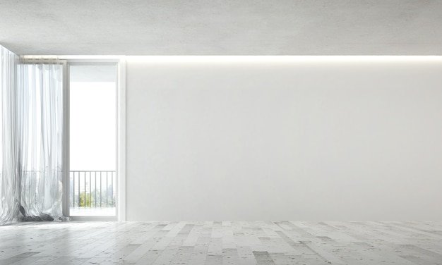 Wnętrze Makiety Projektu Przytulnego Pustego Salonu I Tekstury Tła ściany Betonowej Premium Zdjęcia