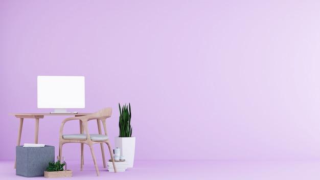 Wnętrze minimalistyczny pokój relaksacyjny w dekoracji kondominium i tle betonowa ściana rendering 3d