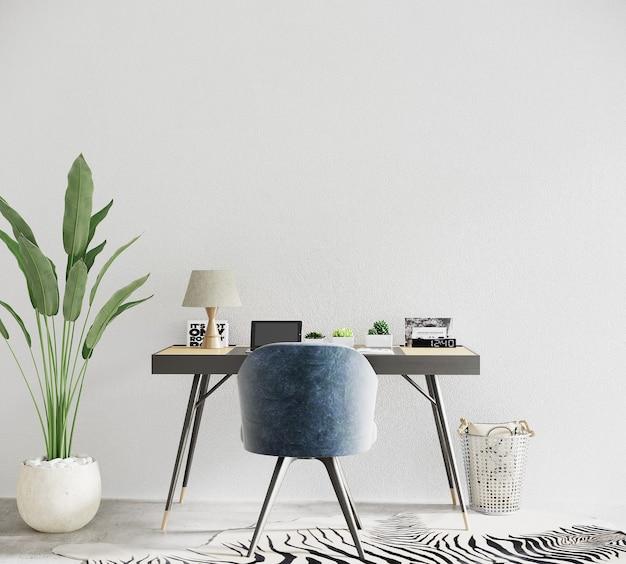 Wnętrze nowoczesnego biura z biurkiem i krzesłem oraz rośliną