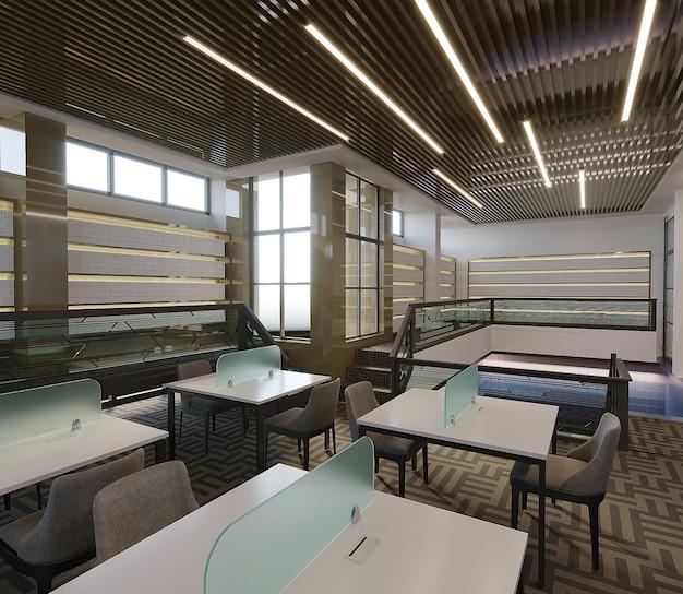 Wnętrze nowoczesnego budynku biblioteki z biurkiem i stołem, renderowania 3d