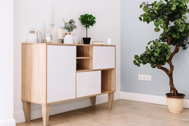 Wnętrze nowoczesnego salonu w stylu skandynawskim z drewnianą komodą i rośliną doniczkową.