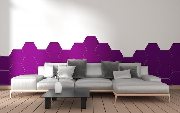 Wnętrze nowoczesnego salonu z dekoracją fotela i zielonych roślin na płytce z fioletowym sześciokątem na ścianie, minimalistyczny design, rendering 3d