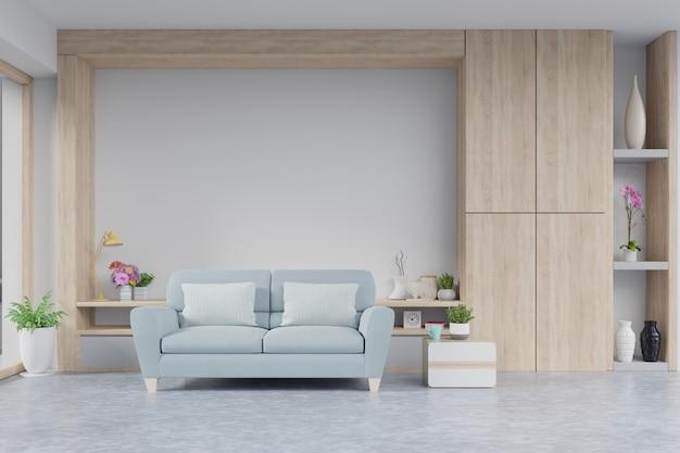 Wnętrze nowoczesnego salonu z sofą i zielonych roślin, lampa, stół na białej ścianie.