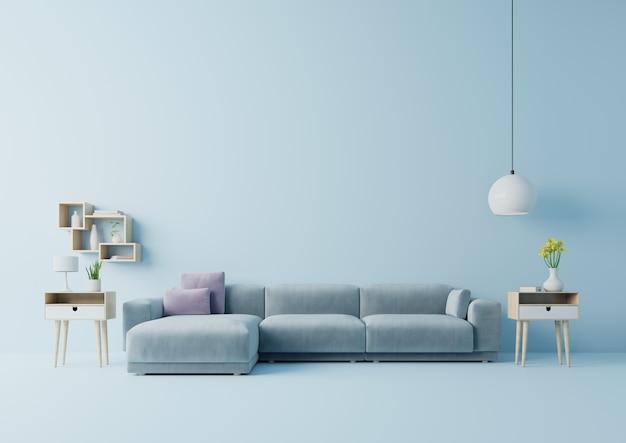 Wnętrze nowoczesnego salonu z sofą i zielonych roślin, stół na tle niebieskiej ściany. renderowania 3d