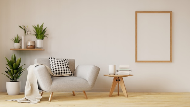 Wnętrze nowoczesnego salonu z sofą i zielonymi roślinami, lampa, stół w salonie