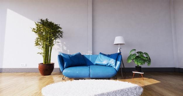 Wnętrze nowoczesnego salonu z sofą i zielonymi roślinami, sofa na ścianie. renderowania 3d