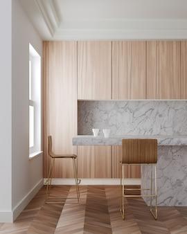 Wnętrze nowoczesnej kuchni z drewnianymi szafkami, długi biały marmurowy bar z drewnianymi stołkami. renderowanie 3d