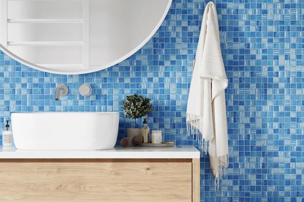 Wnętrze nowoczesnej łazienki z biało-niebieskimi kafelkami na ścianach. renderowanie 3d