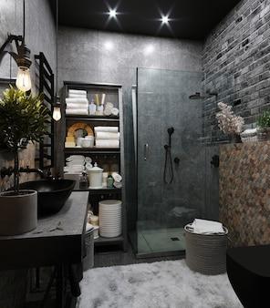 Wnętrze nowoczesnej łazienki z sześciokątnymi brązowo-szarymi kafelkami na ścianie. renderowanie 3d