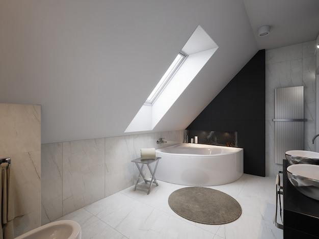 Wnętrze nowoczesnej łazienki z umywalką i toaletą