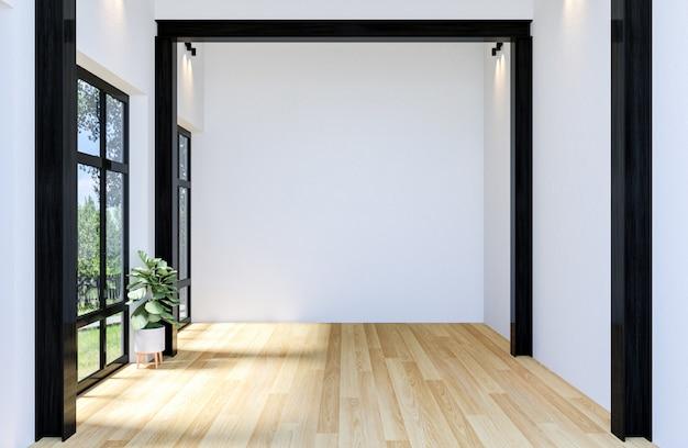 Wnętrze nowoczesnej pustej hali otwartej przestrzeni z dużym oknem i drewnianą podłogą, renderowania 3d