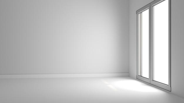 Wnętrze okna ściennego do salonu biały szablon podłogi